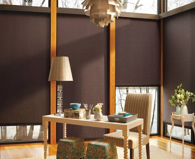 Roller shades blackout xpo blinds for Motorized blackout roller shades